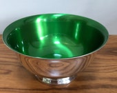 Vintage Wallace Enameled  Color Clad Green and Silver Bowl