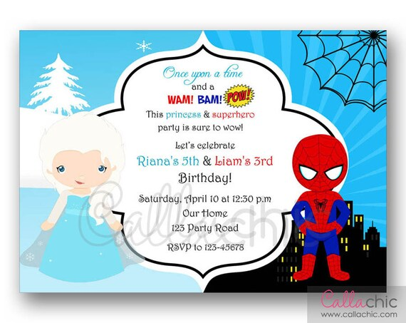 Elsa U0026 Spiderman Geburtstags Einladung Druckbare Zwilling /