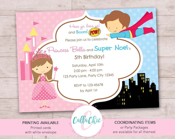 SUPERHERO /& PRINCESS INVITATION CARDS PERSONALISED JOINT BIRTHDAY PARTY BOY GIRL