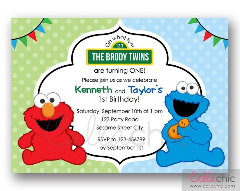 Elmo Cookie Monster Birthday Invitation PRINTABLE Twin