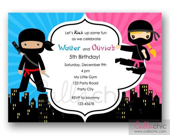 Ninja Urodziny Zaproszenie Do Druku Twinjointsplit Party Boy Etsy