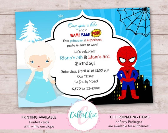Frozen Spiderman Birthday Invitation PRINTABLE Twin