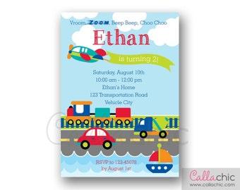 Transportation Invitation PRINTABLE - Boy Birthday Invite - Car Plane Train Truck Boat Vehicle