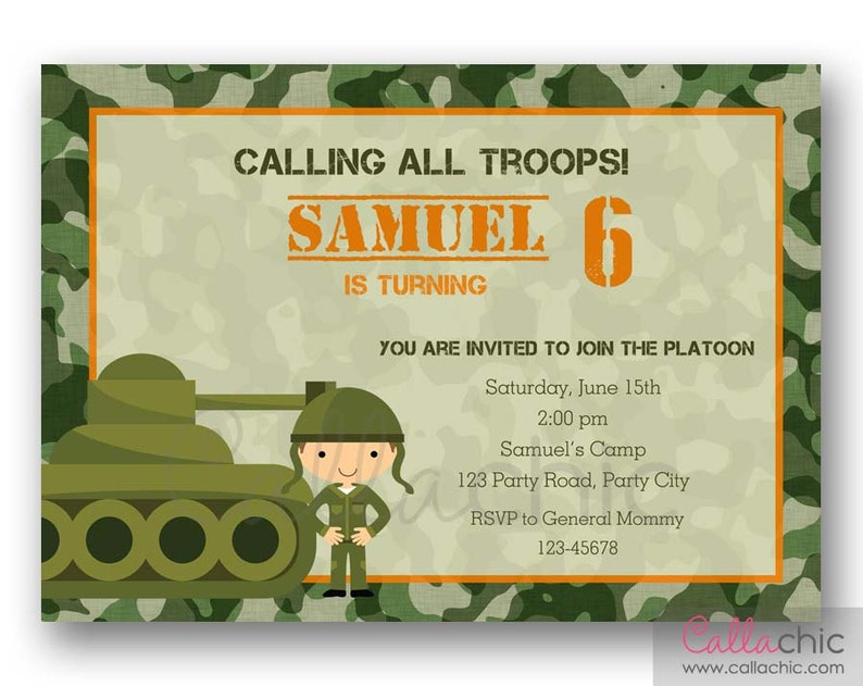 Army Birthday Invitation PRINTABLE Boy Invite Military