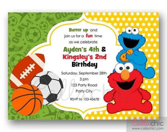 Sesame Street Sports Ball Birthday Invitation PRINTABLE