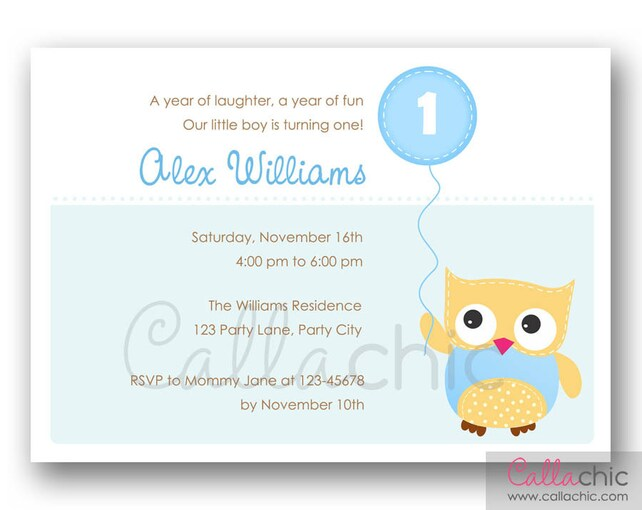 Owl 1st Birthday Invitation PRINTABLE - Girl / Boy 1st 2nd 3rd Birthday - Simple Pink Blue with Balloon