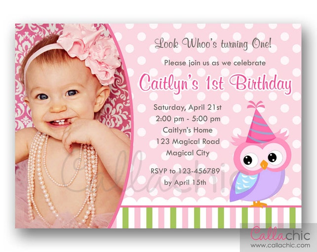Owl 1st Birthday Invitation PRINTABLE with Photo - Girl/Boy - Many Colors - Pink Blue Turquoise Green Purple