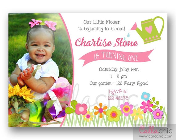 Garden Birthday Invitation PRINTABLE (with Photo) - Spring Flowers Pink Green