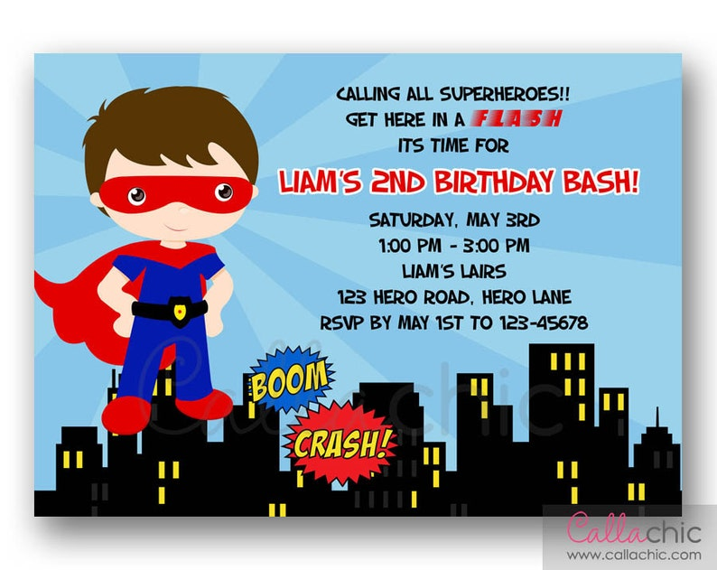 Superman Invitation PRINTABLE Boy Superhero Birthday Party