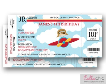 Airplane Ticket Invitation PRINTABLE - Boarding Pass Aeroplane Plane Boy Birthday Party with Pilot