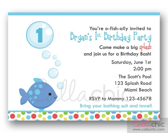 Fish Birthday Invitation PRINTABLE Girl Boy 1st 2nd 3rd