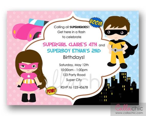 Superhero Birthday Invitation PRINTABLE - Twin / Joint / Split Party - Superheroes Boy Girl (Pastel Color Blue Pink Yellow)
