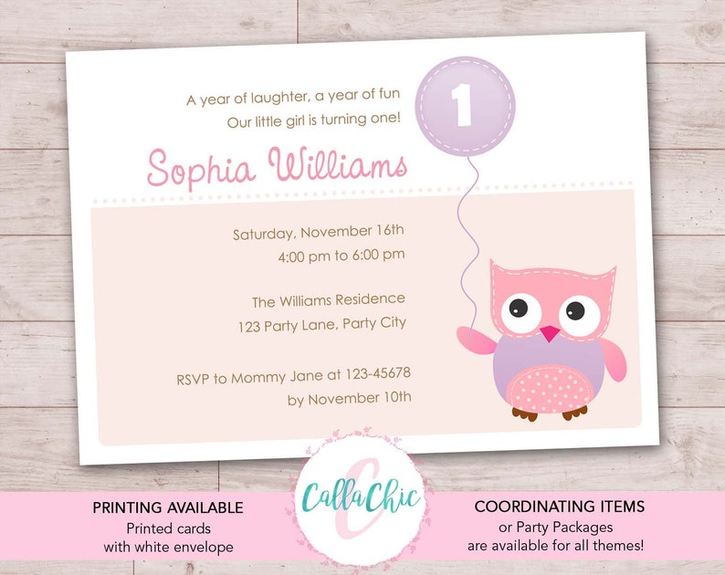 Owl Birthday Invitation PRINTABLE Girl Boy 1st