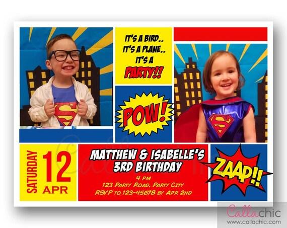 Superman Twins Birthday Invitation With Photo PRINTABLE Boy