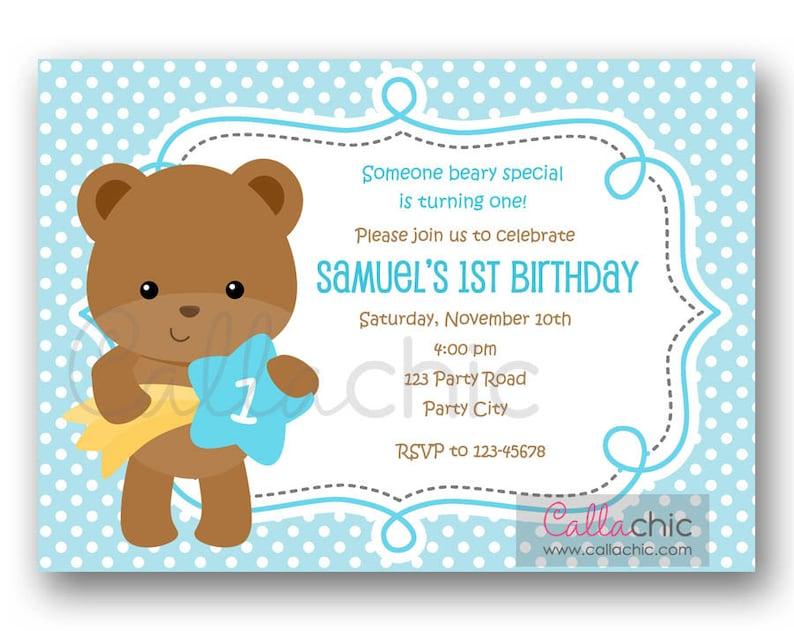 Teddy Bear Birthday Invitation PRINTABLE Boy Girl 1st Party