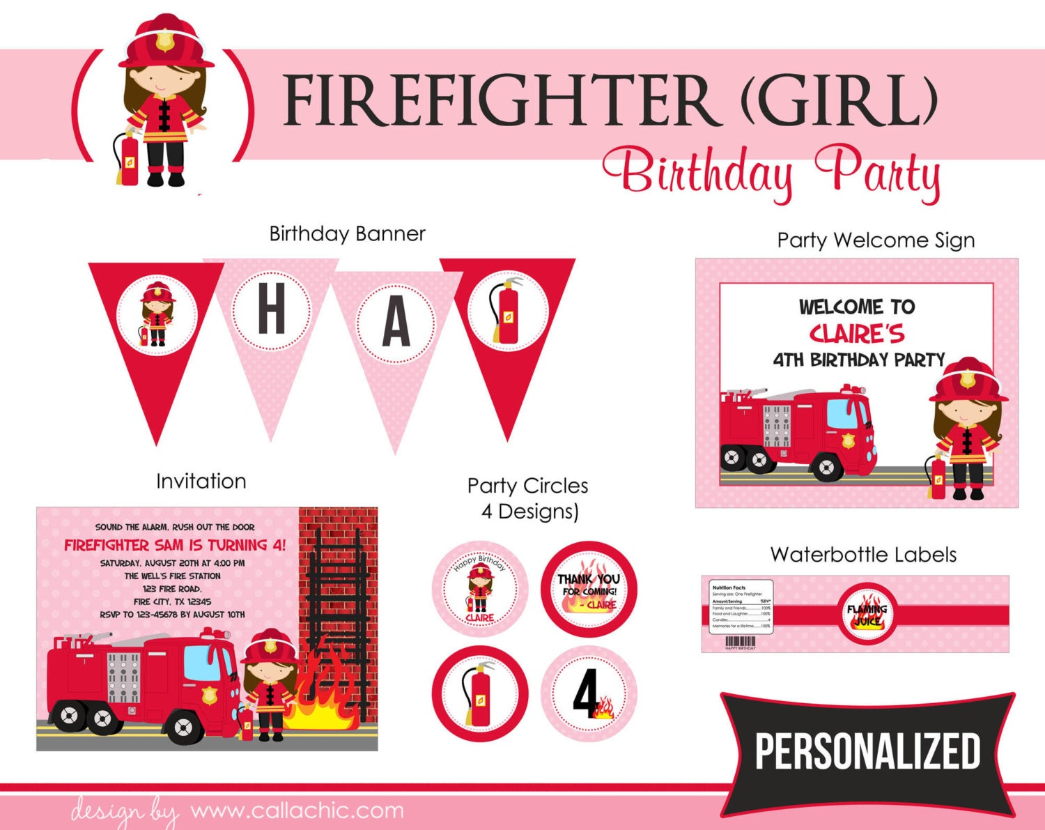 Firefighter Girl Birthday Party Package PRINTABLE Pink and
