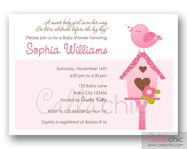 Baby Shower Invitation PRINTABLE (Bird Birdie) Girl / Boy 1st Birthday Party Invitation / Baby Shower Invite - Blue or Pink with Bird House