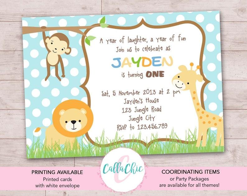 Jungle Animals Birthday Invitation PRINTABLE Boy Girl 1st