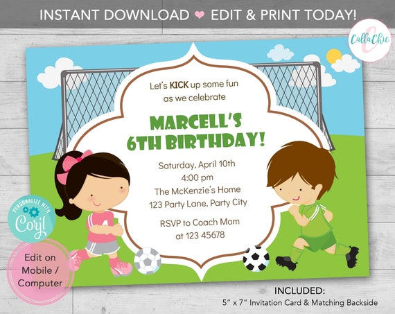 Soccer Birthday Invitation Printable Instant Download Boy Girl Twins Joint Split Birthday Party With Goal Editable Print Today