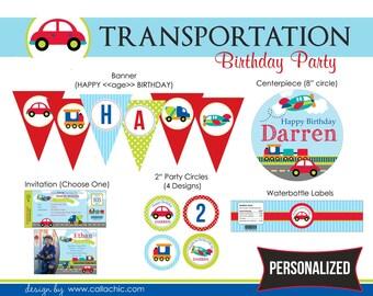 Transportation Birthday Party Package DIY Printable - for Boy (Car Plane Train Truck)