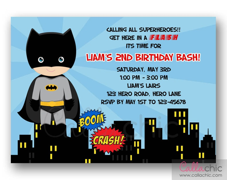 Batman Invitation PRINTABLE Boy Superhero Birthday Party
