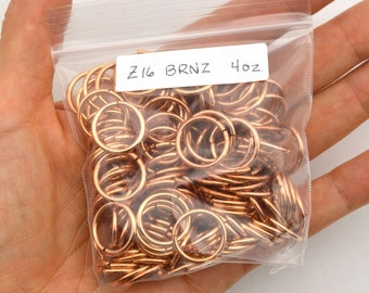 "Z16 - 16 SWG 15/32"" (11.9 mm) copper jump rings SALE - 150 jump rings - 4 oz"