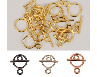 12 pc - Econo Toggle - Electroplated with Plated Gold, Rhodium, Black Oxide (Gunmetal) or Copper - Pack of 12 Toggles