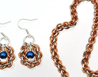 Chainmaille Kit: Jens Pind Linkage Bracelet & Earrings - Aluminum, Brass, Bronze - Advanced - Instructions sold separately - JPL3 Tri-Metal