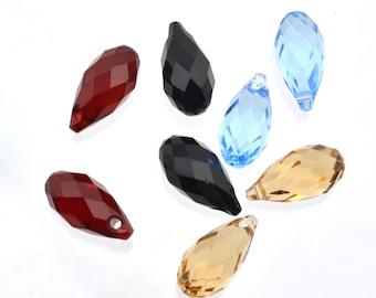 SALE - 2 pc - 11mm briolettes - side-drilled - Faceted Swarovski Crystal - various colors