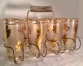 Eight Mid-Century Libbey Frosted Gold Leaf High Ball Glasses with Brass Caddy