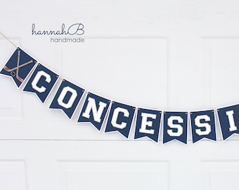 Concessions Banner, Hockey Birthday Banner, Sports Banner