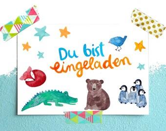 Einladungskarte Zum Kindergeburtstag Postkarte Einladung Geburtstag; Mit  Krokodil, Fuchs, Bär, Pinguin U0026 Vogel