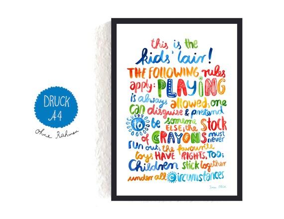 Print / Druck / kleines Poster Kinderzimmer englisch | Etsy