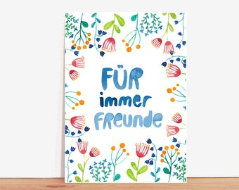 Postcard *Friends forever* (with text in German)