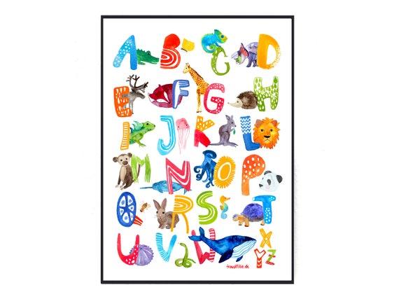 ABC Poster englische Version für Kinder / Kinderzimmer | Etsy