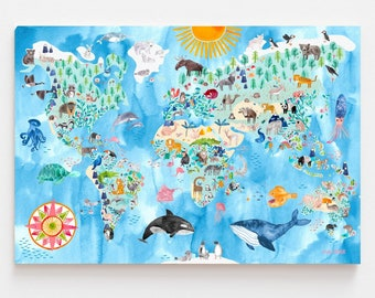 XXL World map *animals* by Frau Ottilie; nursery room kids room decoration wall poster eco friendly on recycling paper