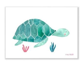 Art Print / small poster *turtle* illustration animal turtle kids room nursery decor children boys girls water colour ecofriendly