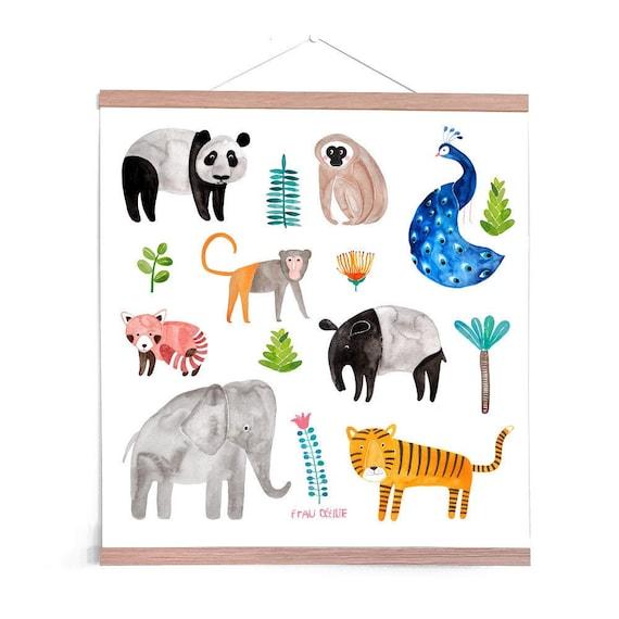 Poster Kinderzimmer *Tiere aus Asien* mit Tiger, Elefant, Pfau & mehr