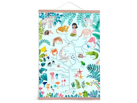 Poster *Evolution*; Kinderzimmer Stammbaum Baum des Lebens Tierposter Tiere  Junge Mädchen Evolutionposter Tiere Print Deko