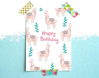 Postcard *Happy Birthday* (Lama)