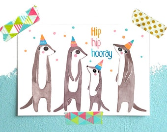Postcard *hip hip hooray* with meerkat
