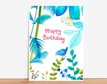 Postcard *happy birthday* with jungle motive and birds
