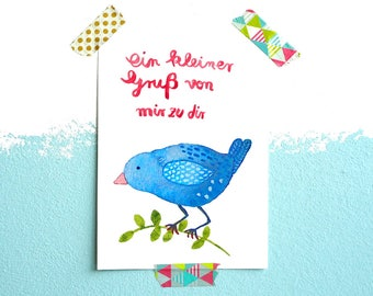Postcard *Greetings from the bird* (with text in German)