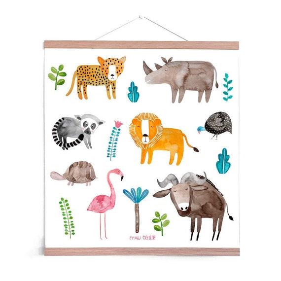 Poster Kinderzimmer *Tiere aus Afrika* mit mit Löwe, Leopard, Nashorn,  Perlhuhn, Lemur, Flamingo und Schildkröte