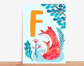 ABC Card *F wie Fuchs/F is for Fox* (german/english)