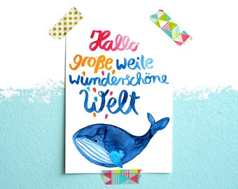 Postcard *Hello world* (with text in German)