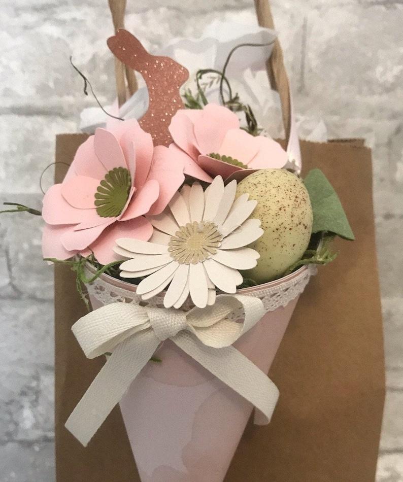 Wine bottle hanger, gift bag tag, bottle collar, tiered tray d\u00e9cor Rose gold pink Glitter Bunny and Easter Egg flower arrangement.