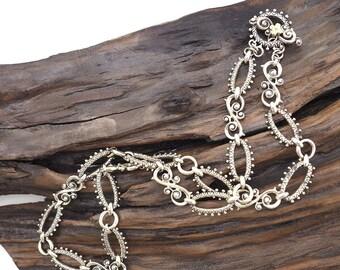 Barbara Bixby, Sterling Silver Chain, Barbara Bixby Chain, 18K Gold Embellishments, Fancy Chain, Designer Chain, Barbara Bixby Necklace