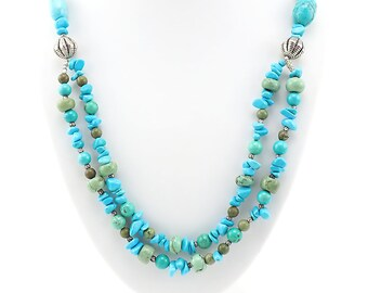 Beaded Necklace, Gemstone Necklace, Turquoise Blue Necklace, Sterling Silver Necklace, Multistrand Necklace, Southwestern Style Necklace
