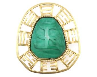 Hattie Carnegie Brooch, Hattie Carnegie Jewelry, Asian Brooch, Asian Pendant, Faux Jade, Pendant Brooch, Carnegie Brooch, Chinese Brooch